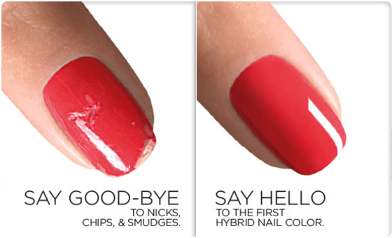 Say Good-Bye to Nicks, Chips & Smudges. Say Hello to the First Hybrid Nail Colour.